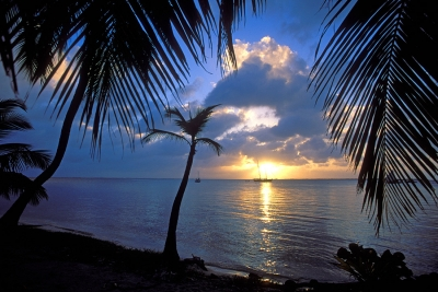 Sunset on Belize's Glovers Reef