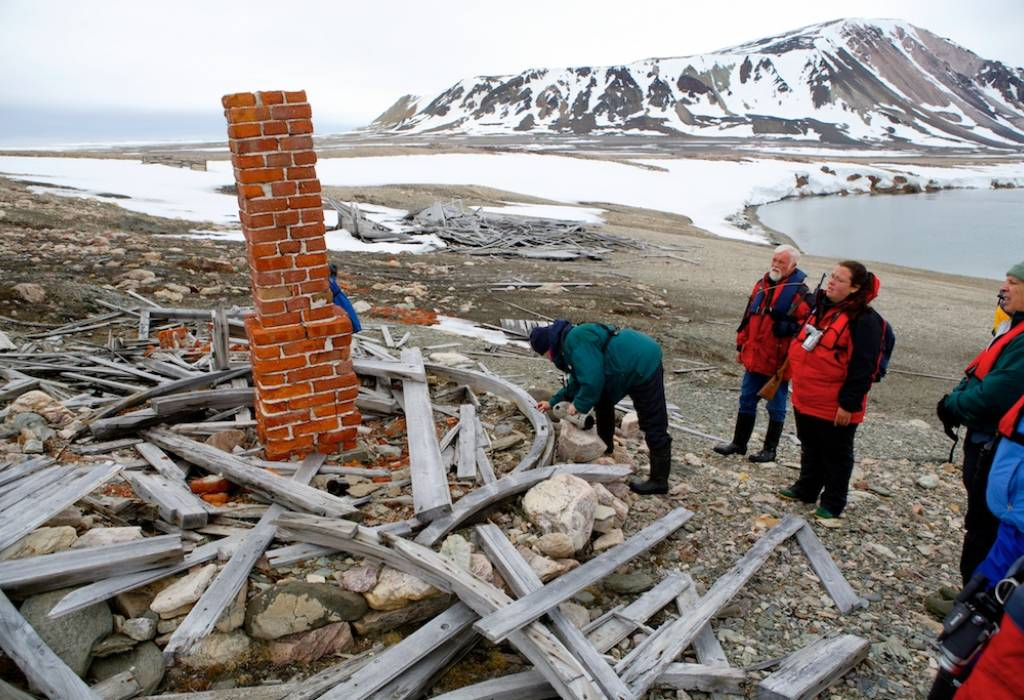 Collapsed Swedish camp of the 1898 surveying expedition, Spitsbergen