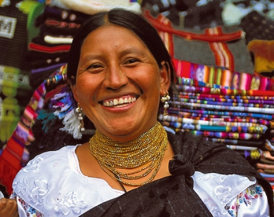 Otavalo Indian market vendor