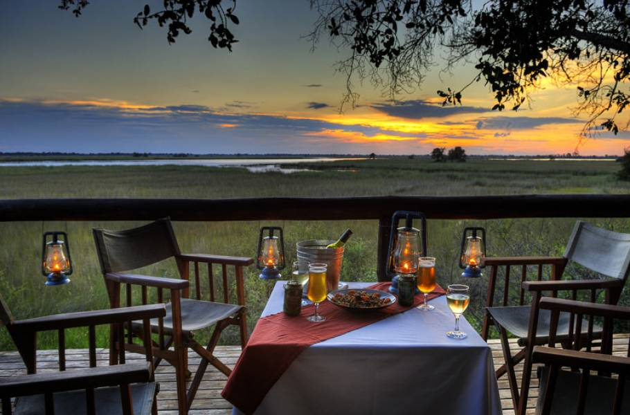 Camp Moremi sunset dining