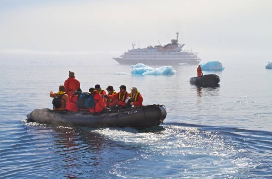 Antarctica cruise ship and zodiacs